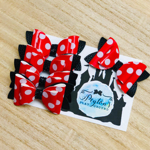 "Red Polka Stacked 3"" Bows"