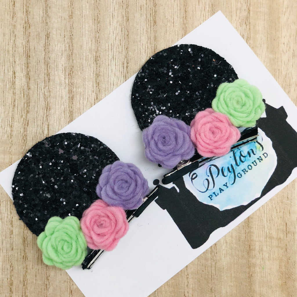 Mouse Ears and Felt Floral Piggie Clips Set