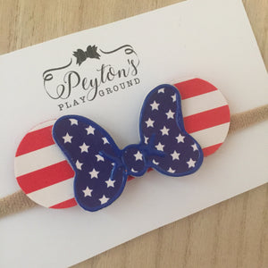 Mouse Patriotic Single Bow & Ears