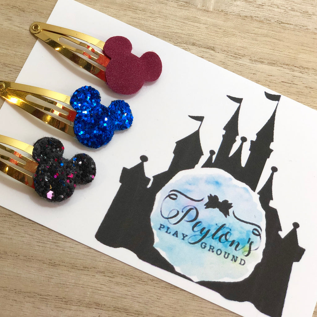 Ice Princess Mouse Head Snap Clip Set