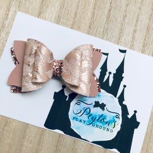 "Rose Gold Lace 3"" Bow"