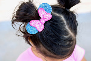 Glitter Pink and Denim Bow and Ears