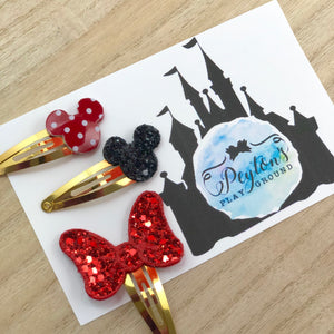 Classic Miss Mouse Head Snap Clip Set
