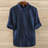 Men's 100% pure linen shirt with long sleeves