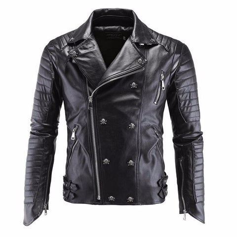 Leather jacket with skulls