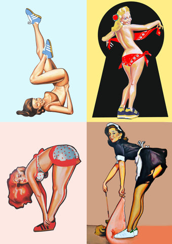 Pin Up girls x 4 Prints