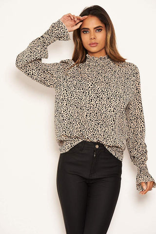 Beige Spotty High Neck Elasticated Top