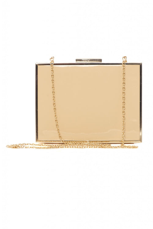 Patent Gold Edged Box Clutch Bag