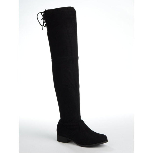 69e8cd66a1f MERCY - Black Suede Over the Knee Flat Suede Boot with Tie Up Back – AX  Paris