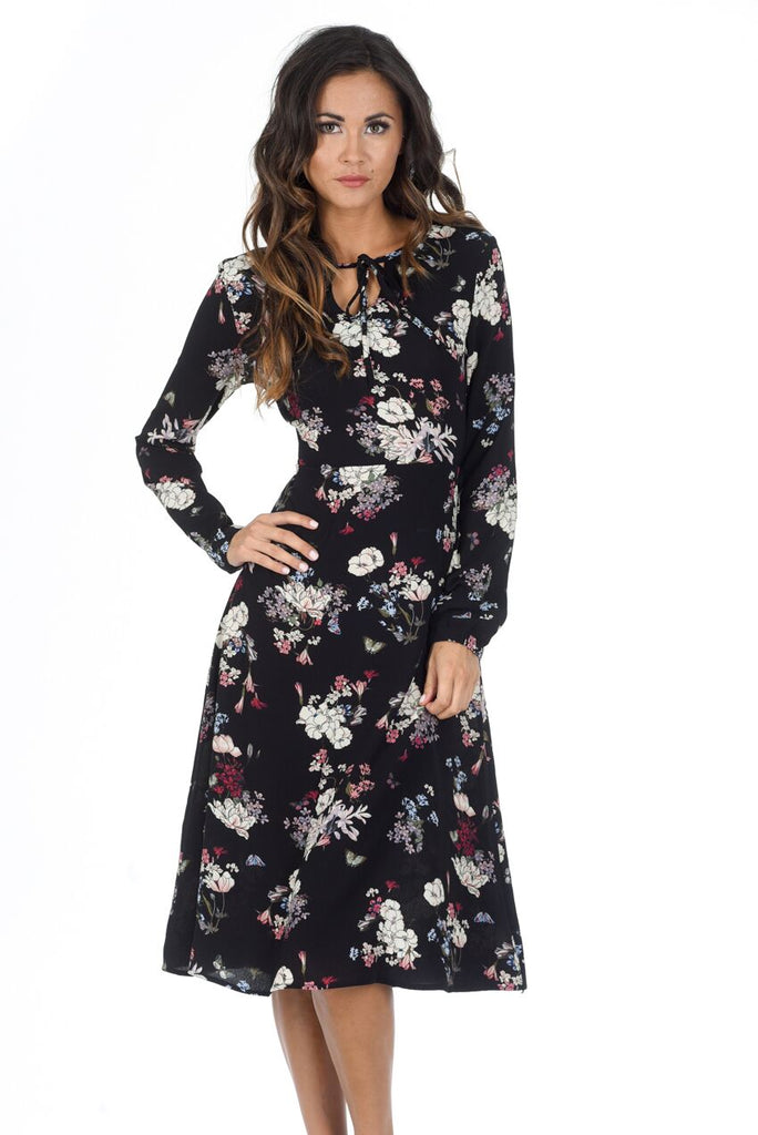 Black Floral Long Sleeve Swing Dress