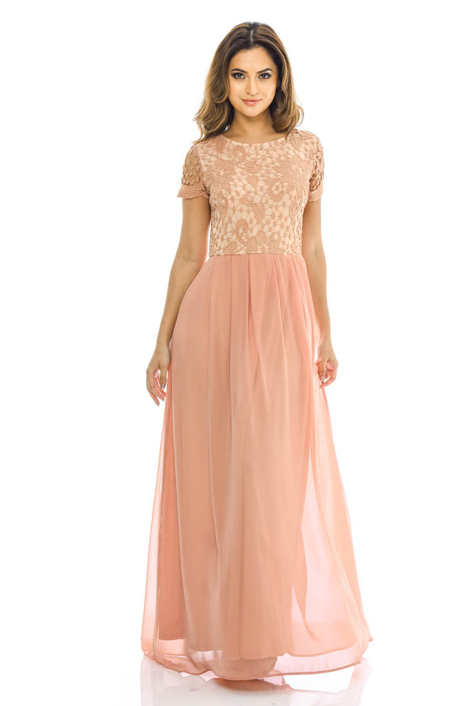Blush 2 in 1 Crochet Top Maxi Dress