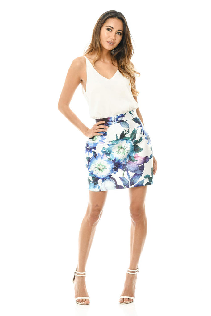 2 in 1 Mini Printed Floral Skirt Dress