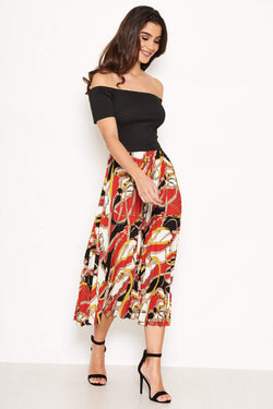 2 in 1 Bardot Chain Print Dress