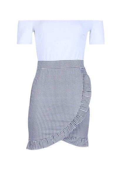 2 in 1 Gingham Dress with Ruffle Detail