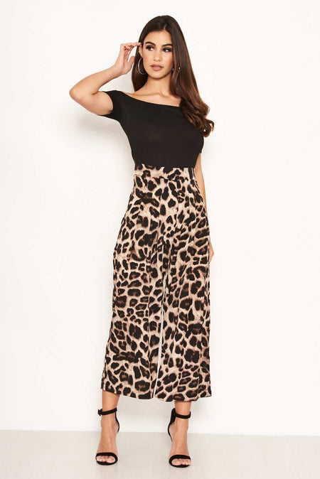 Leopard Print Jumpsuit With Knot Front Detail