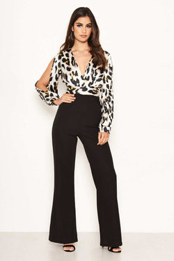 2 in 1 Leopard Print Split Sleeve Jumpsuit