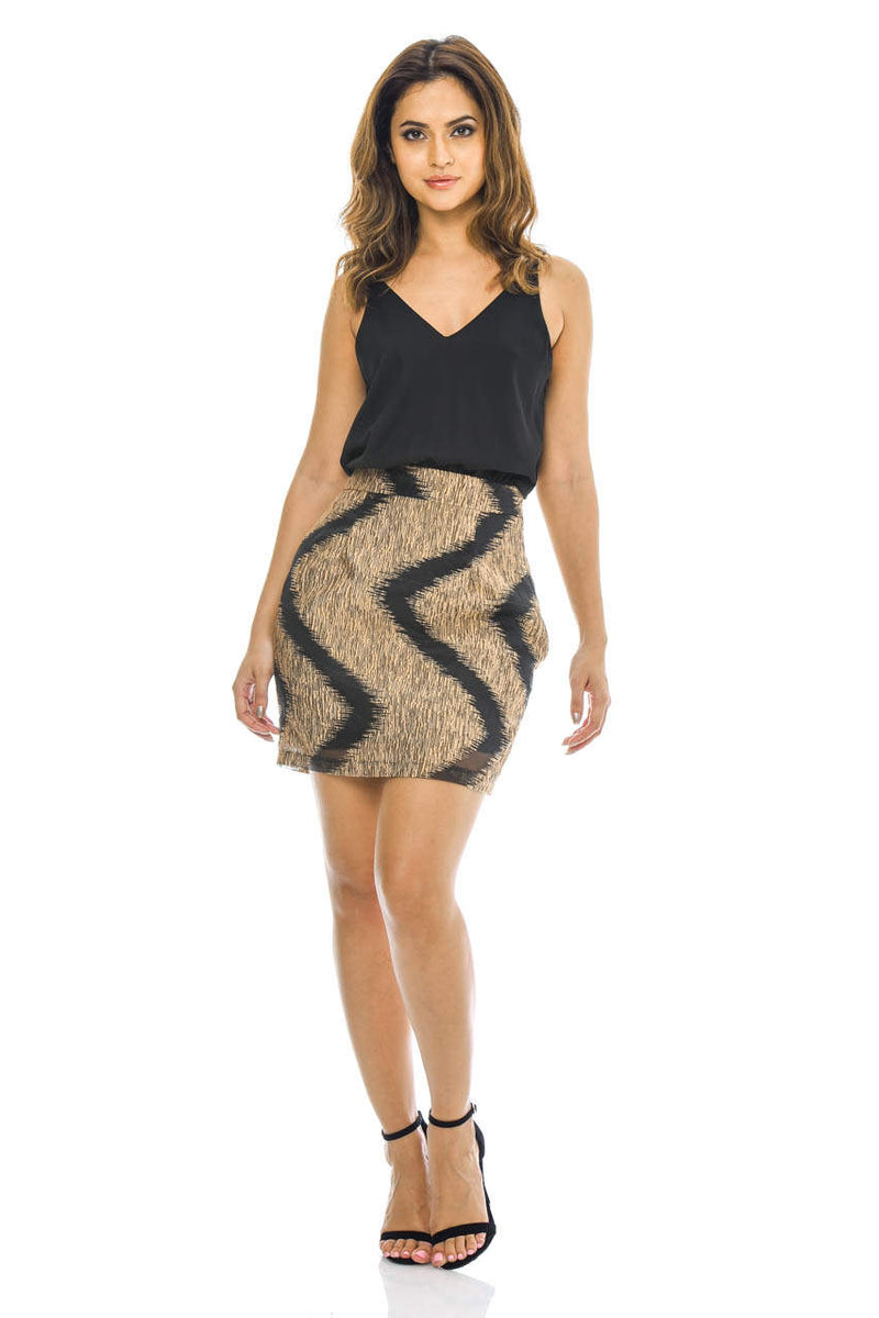 Black 2-in-1 mini dress with printed skirt