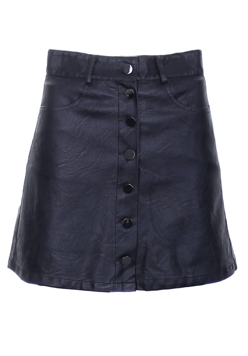 Black Button Front PU Skirt