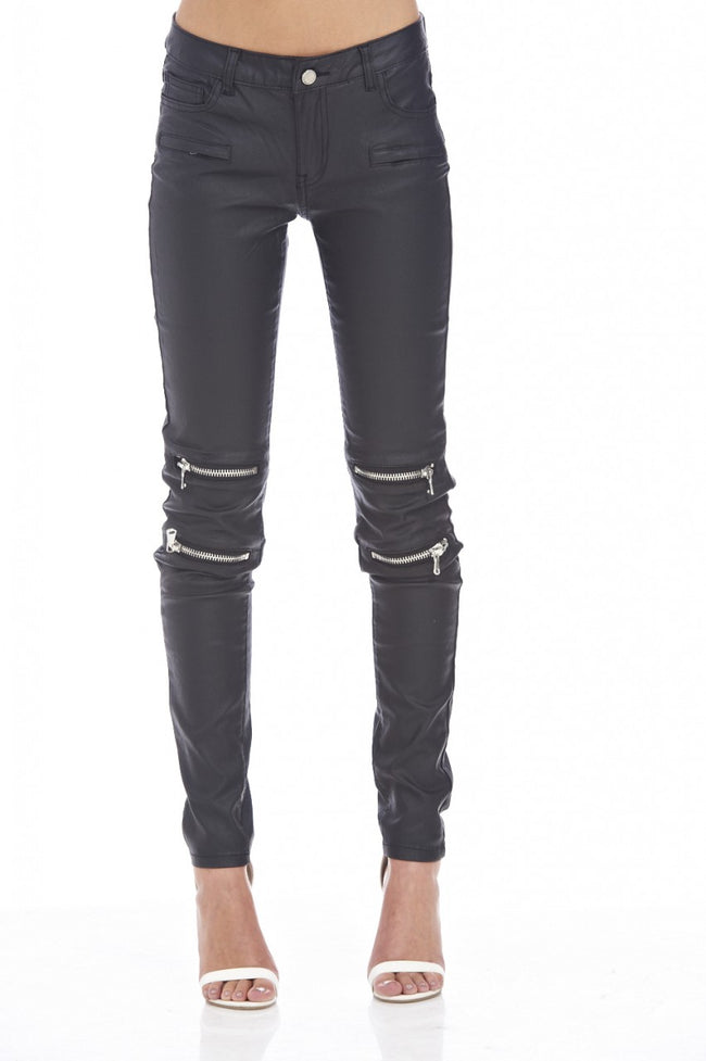 Wet Look Zip Jean