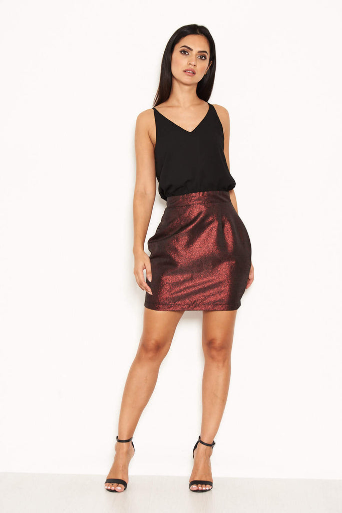 2 In 1 Metallic Above The Knee Dress