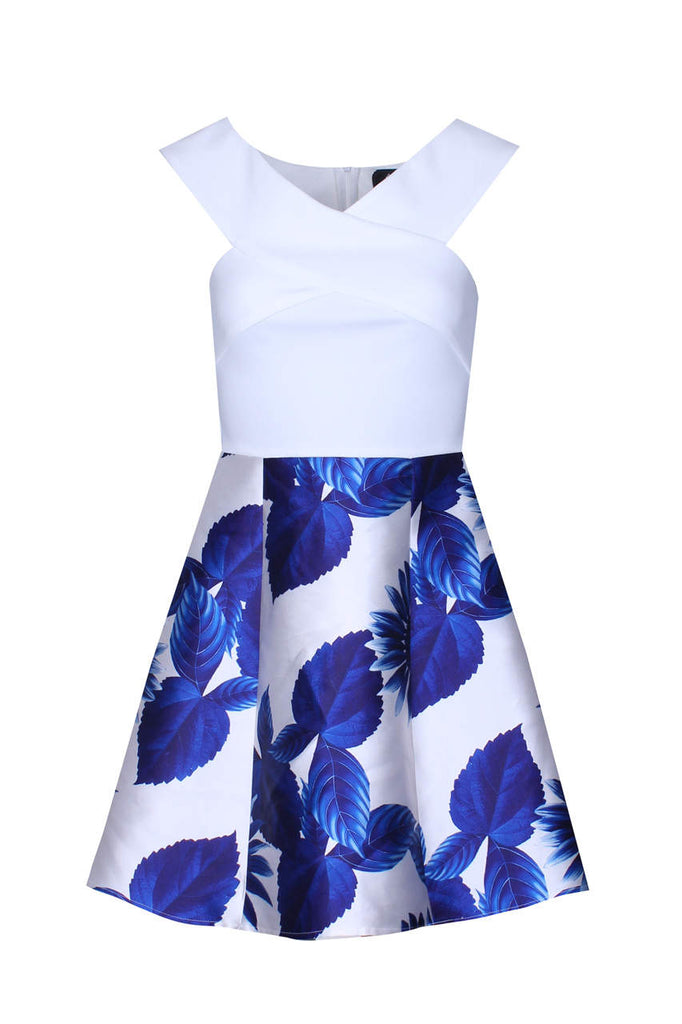 2 In 1 Cream And Blue Printed Skirt Mini Dress