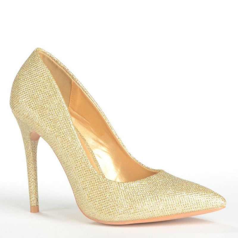BEA - Gold Glitter Pointed Court Heel