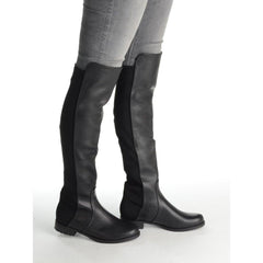 LEILA - Black Nappa Over The Knee Boot with Lycra Stretch Back Panel