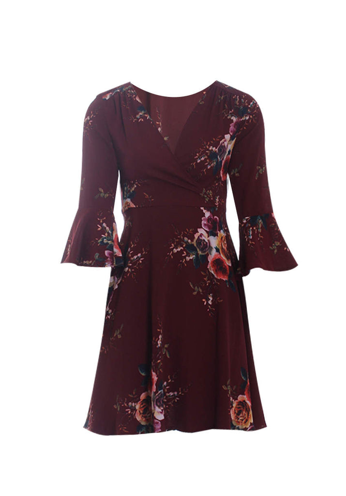 Rust Printed Wrap Over skater dress
