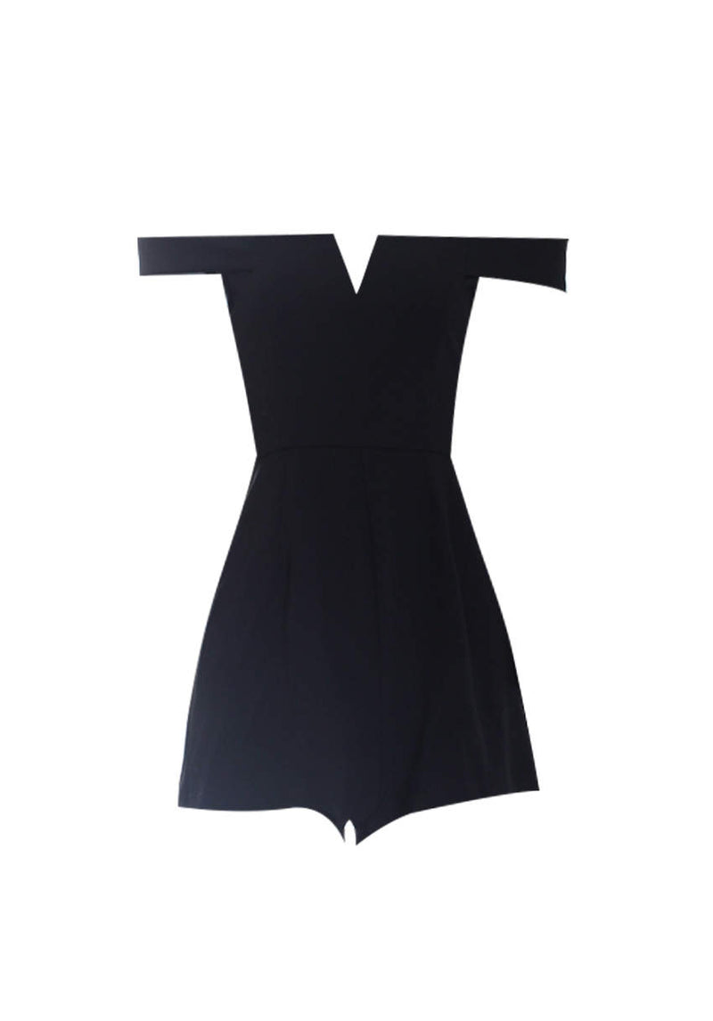 Black Notch Front Playsuit