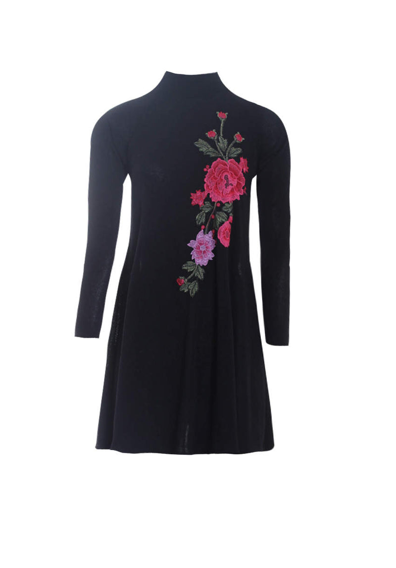 Black Embroidered Knitted Dress