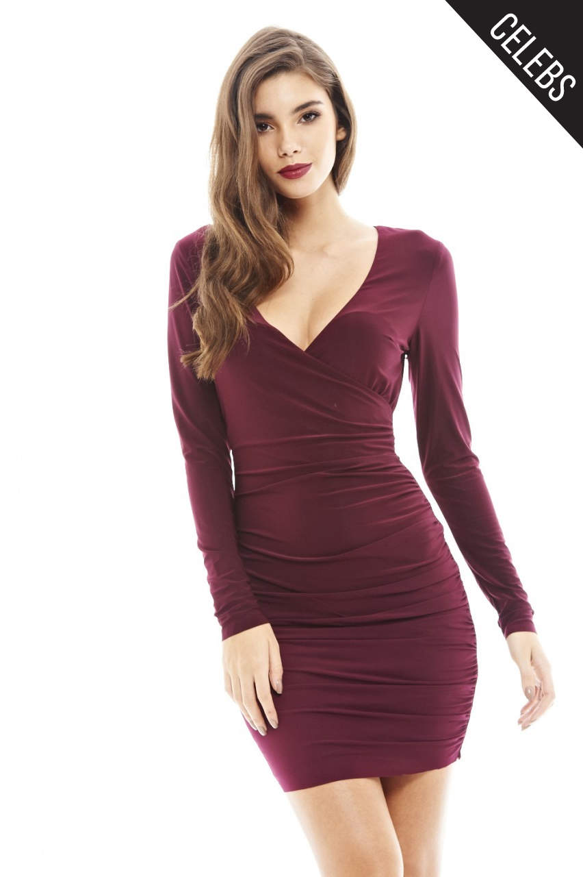 V Front  Slinky Ruched  Dress