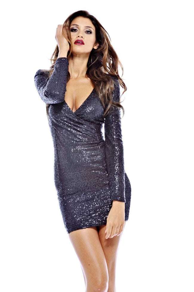 Long Smooth Sequin Sleeve V Front Dress