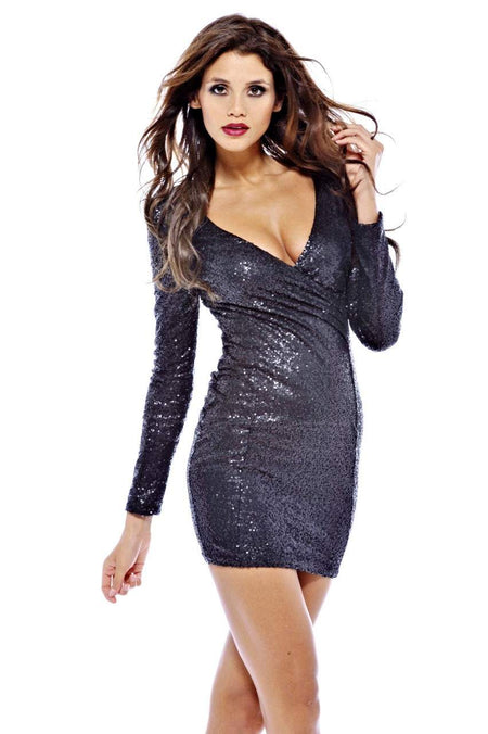 Black Sequin Cut Out Shoulder Dress