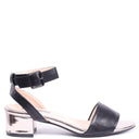 CELINE - Black Nappa Single Sole Block Heeled Sandal