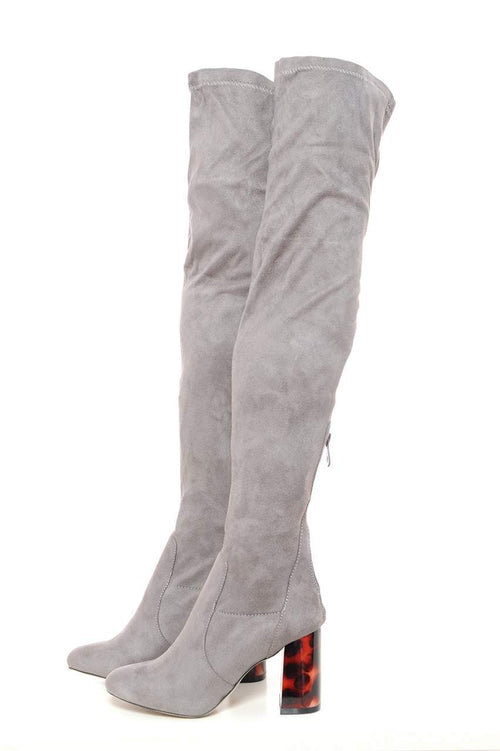 Marble Heeled Knee High Boots