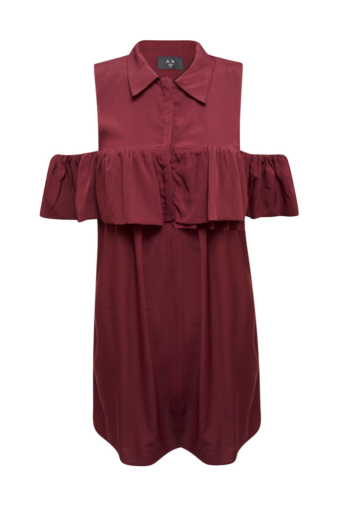 Wine Ruffle Cold Shirt Dress