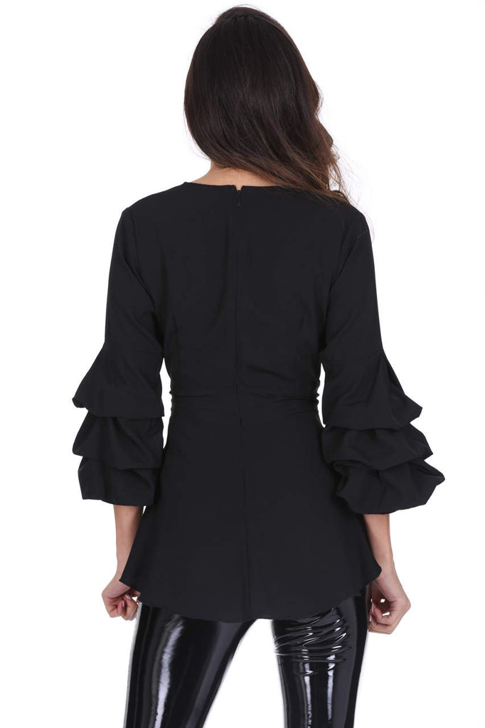 Black Wrap Ruffle Sleeve Top