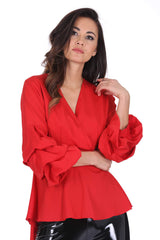 Red Wrap Ruffle Sleeve Top