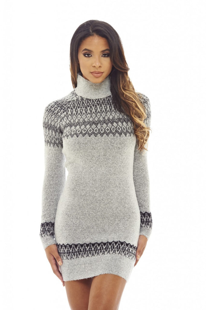 Grey Turtle Neck  Jumper  Dress
