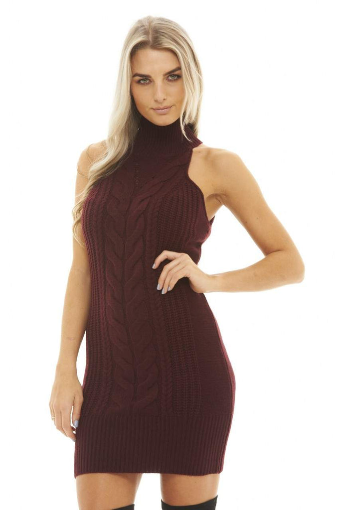 Cut In Neck Knitted Dress