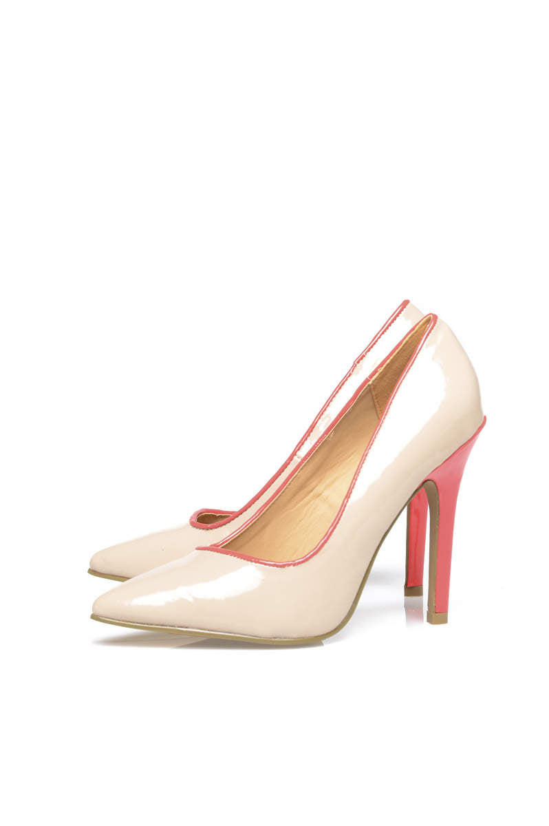 Pointed Colour Trim Block Heels