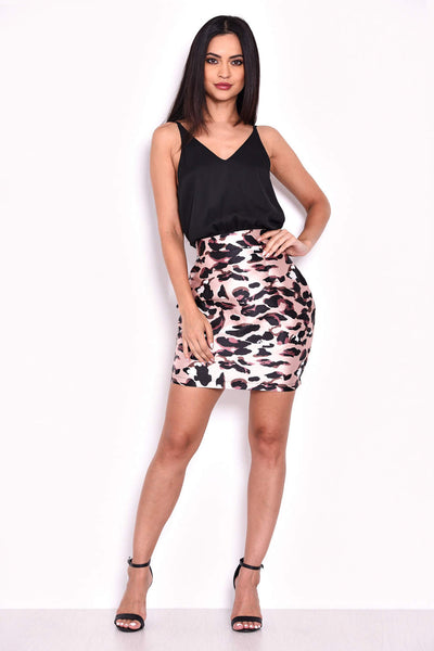 Animal Print 2 in 1 V Neck Dress