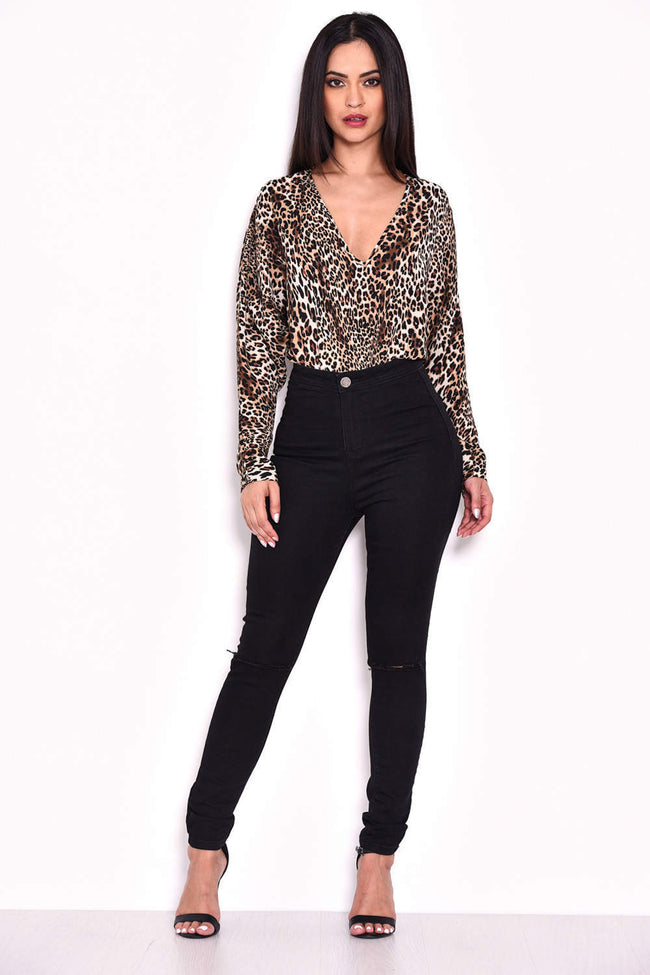 Animal Print Batwing Bodysuit