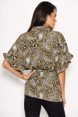 Animal Print Frill Sleeve Top