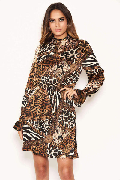 Animal Print High Neck Skater Dress