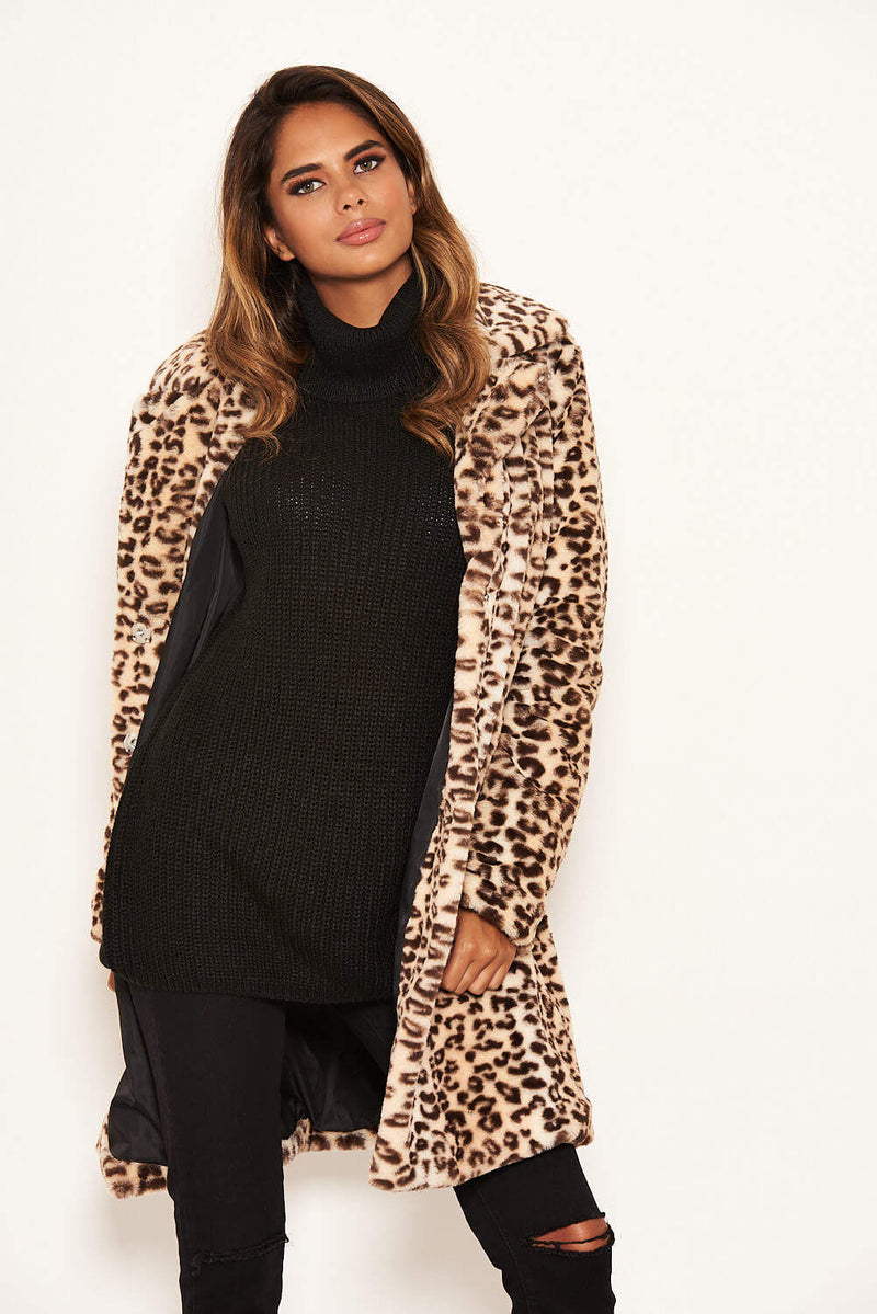 Animal Print Long Faux Fur Coat