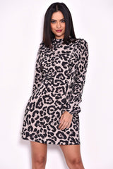Animal Print Long Sleeve Frill Dress