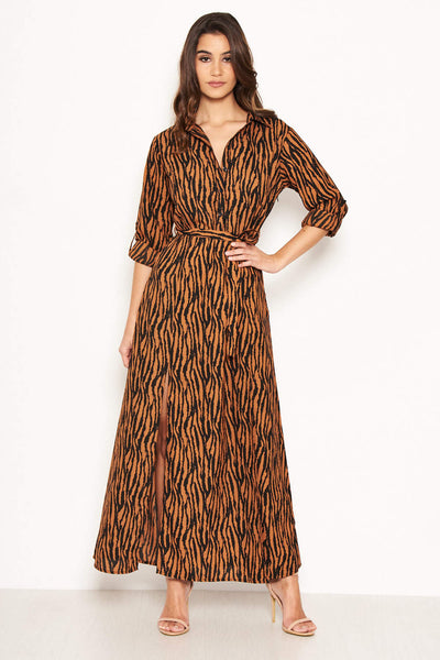 Animal Print Maxi Shirt Dress – AX Paris 2a6d608c4
