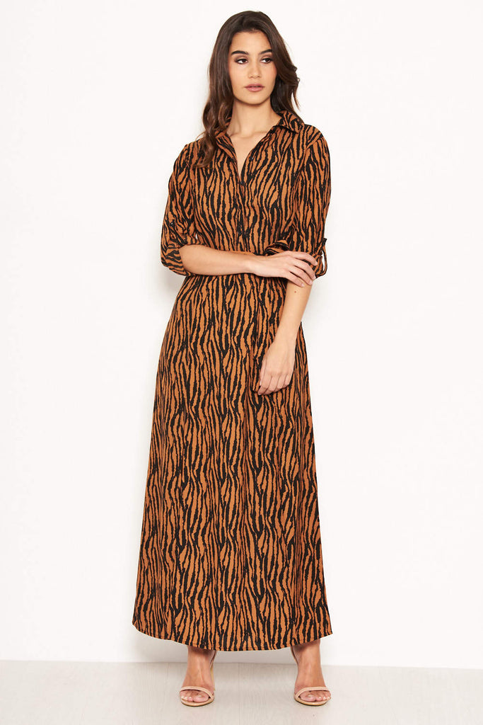 Animal Print Maxi Shirt Dress