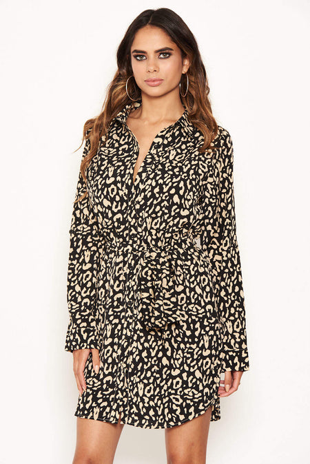 2 In 1 Black Animal Print Dress